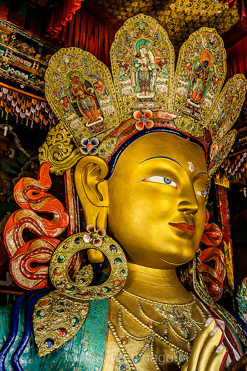 40ft tall statue of Maitreya Buddha at Thiksey Monastery, located 19 km from Leh, the capital town of Ladakh Himalaya.