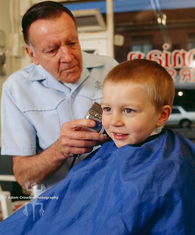 Boy (4-5) having hair cut by male barber