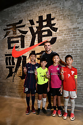 HONG KONG, CHINA - Wednesday, July 19, 2017: Liverpool's captain Jordan Henderson with the four MVP players from the Nike Academy Invitational Group during a visit to a new Nike store in the Mong Kok district of Hong Hong. (Pic by Pool/Nike/Propaganda)