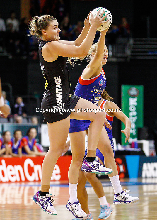 Waikato BOP Magic's Ellen Halpenny and Northern Mystic's Laura Langman compete for the ball during the ANZ Championship netball match - Waikato BOP Magic v Northern Mystics at Claudelands Arena, Hamilton, New Zealand on Saturday 20 April 2014.  Photo:  Bruce Lim / www.photosport.co.nz