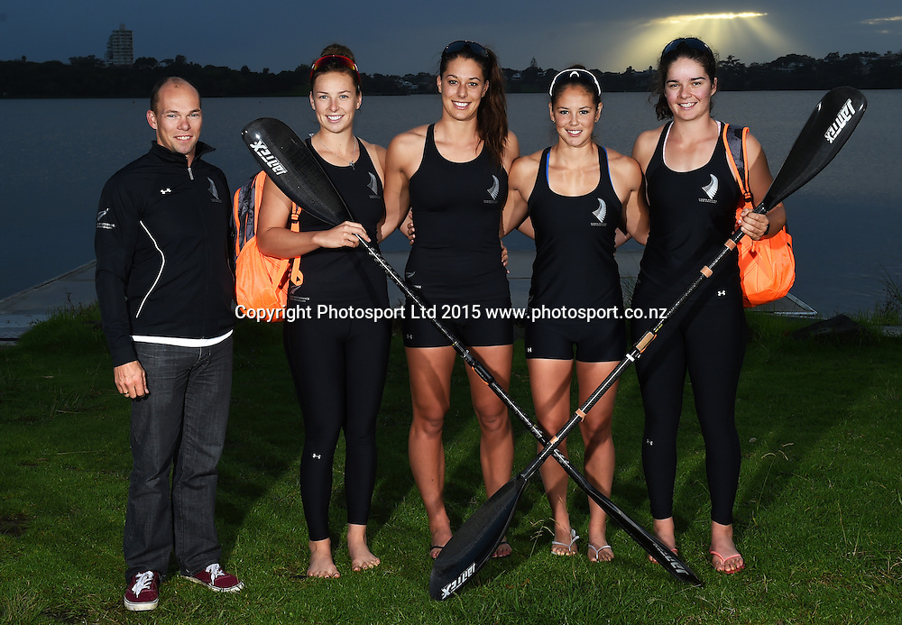 National women's coach Rene Olsen with The K4 500m team, L_R Caitlin Ryan, Kayla Imrie, Jaimee Lovett and Aimee Fisher during a Photoshoot for Canoe Racing New Zealand and Sportswear company Under Armour, Lake Pupuke, Auckland. Thursday 30 April 2015. Copyright Photo: Andrew Cornaga / www.photosport.co.nz