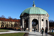 A view of the dome in the middle of the Hofgarten in central Munich on a sunny early winter's day