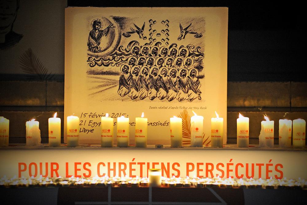 13 Mars 2015: Septième (7ème) nuit des témoins en la cathédrale Notre Dame de Paris organisée par l'AED (Aide à l'église en détresse). Paris (75) France.