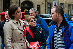 Pictured: Ms Dugdale chats to local firemal Iain Paterson and his mother, Mary.<br /> <br /> Scottish Labour leader, Kezia Dugdale began her Party's Holyrood election campaign by joining supporters at a street stall in Morningside in Edinburgh today. She was joned by local candidate Daniel Johnston<br /> <br />  Ger Harley | EEm 23 March 2016