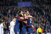MARCO VERRATTI (PSG) scored a goal and celebrated it in arms of Kylian Mbappe (PSG), Neymar da Silva Santos Junior - Neymar Jr (PSG), Julian Draxler (PSG), Edinson Roberto Paulo Cavani Gomez (psg) (El Matador) (El Botija) (Florestan) during the UEFA Champions League, Group B, football match between Paris Saint-Germain and RSC Anderlecht on October 31, 2017 at Parc des Princes stadium in Paris, France - Photo Stephane Allaman / ProSportsImages / DPPI