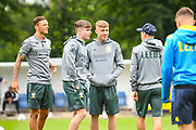 Leeds United forward Jack Clarke, on loan from Tottenham Hotspur,  arrives at the ground with Leeds United defender Ben White (4) during the Pre-Season Friendly match between Tadcaster Albion and Leeds United at i2i Stadium, Tadcaster, United Kingdom on 17 July 2019.