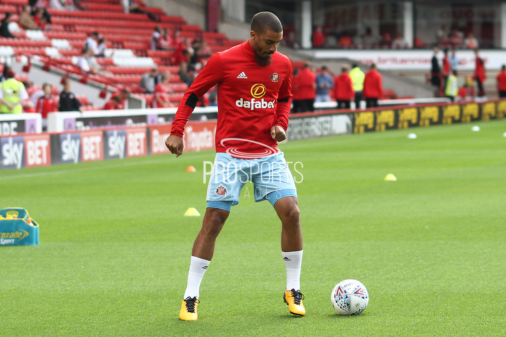 Sunderland forward Lewis Grabban (11)in the warm up during the EFL Sky Bet Championship match between Barnsley and Sunderland at Oakwell, Barnsley, England on 26 August 2017. Photo by Justin Parker.
