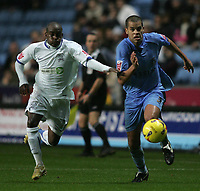 Photo: Lee Earle.<br /> Coventry City v Southend United. Coca Cola Championship. 30/12/2006. Coventry's Marcus Hall (R) and Southend's Jamal Campbell-Ryce chase the ball.