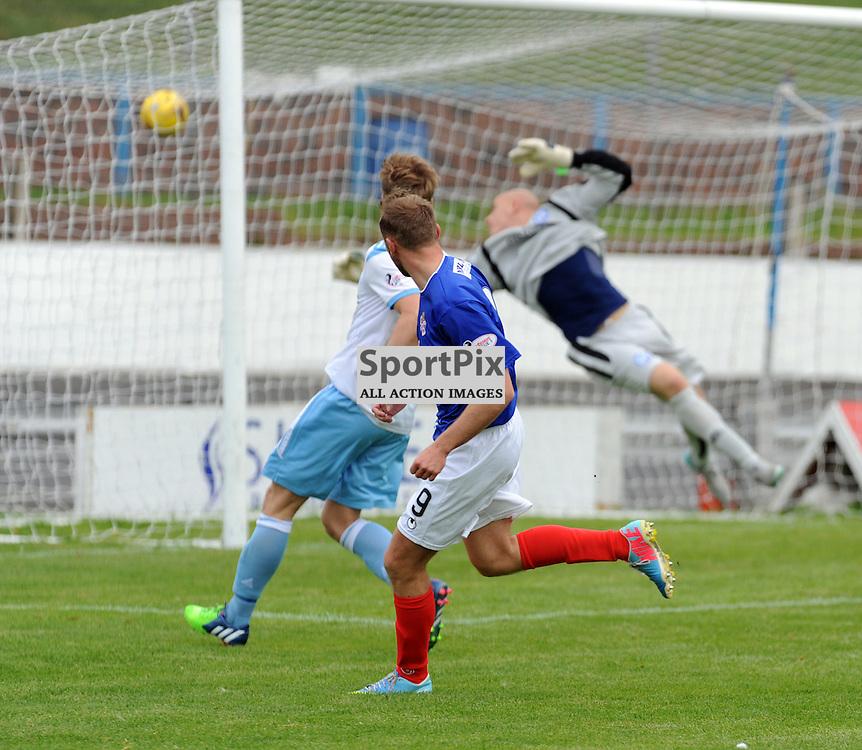 Cowdenbeath v Forfar Ladbrokes League 1 Central Park 19 September 2015<br /> <br /> Greg Spence scores Cowdenbeath's second and the winner<br /> <br /> (c) David Wardle | StockPix.eu