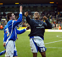 Photo: Chris Ratcliffe.<br /> Norwich City v Ipswich Town. Coca Cola Championship. 05/02/2006.<br /> Danny Haynes celebrates at the end of the game after scoring the winning goal for Ipswich