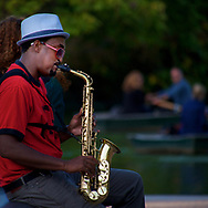Saxophone player at Bethesda Terrace in Central Park, New York City