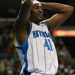 06 February 2009:  New Orleans Hornets forward James Posey (41) reacts to a foul called on him during a NBA game between the New Orleans Hornets and the Toronto Raptors at the New Orleans Arena in New Orleans, LA.