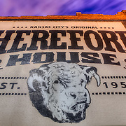 Hereford House restaurant sign on the side of a building in the Crossroads District area of downtown Kansas City, Missouri.
