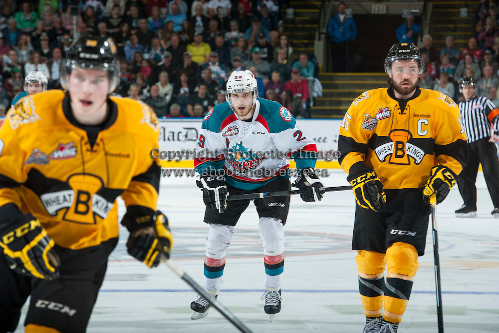 KELOWNA, CANADA - MAY 13: Leon Draisaitl #29 of Kelowna Rockets skates against the Brandon Wheat Kings on May 13, 2015 during game 4 of the WHL final series at Prospera Place in Kelowna, British Columbia, Canada.  (Photo by Marissa Baecker/Shoot the Breeze)  *** Local Caption *** Leon Draisaitl;