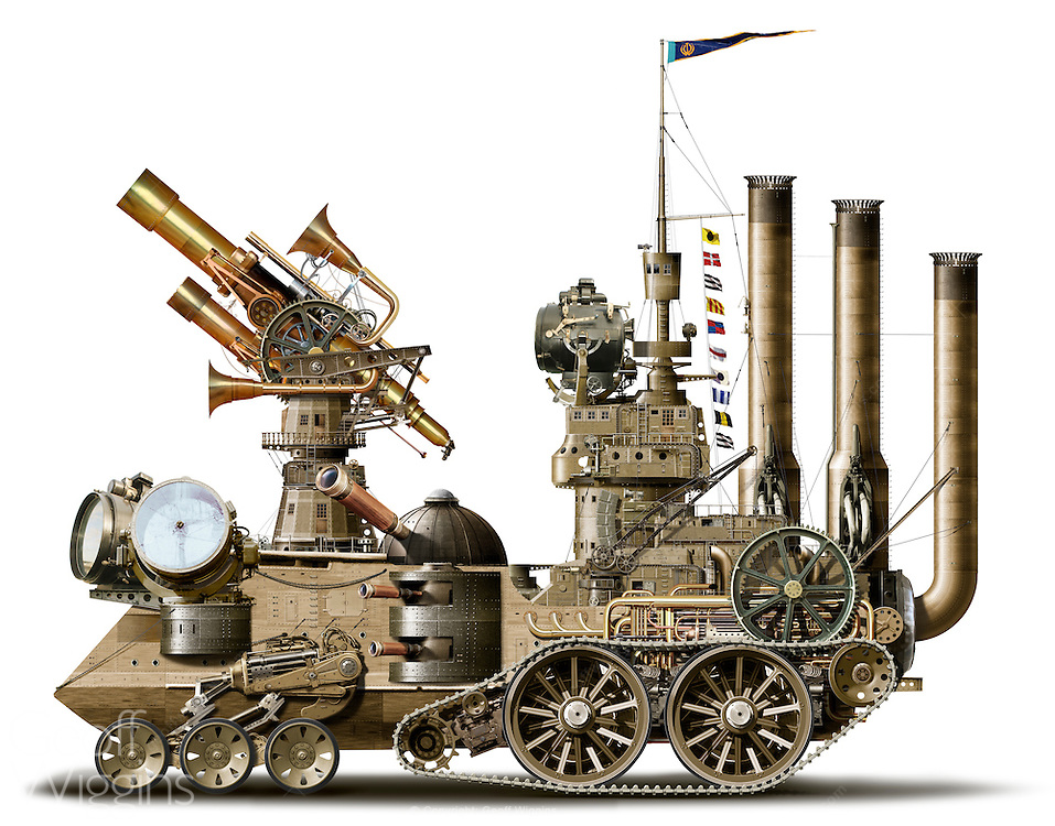Highly detailed illustration of a 'search engine' in the Steampunk genre incorporating technology and aesthetic designs inspired by 19th-century industrial steam-powered machinery