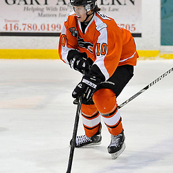 WHITBY, ON - Feb 11: Ontario Junior Hockey League game between Orangeville Flyers and Whitby Fury. Connor Stack #10 of the Orangeville Flyers Hockey Club during third period game action.<br /> (Photo by Shawn Muir / OJHL Images)