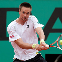 31 May 2009: Robin Soderling of Sweden eyes the ball as he prepares a backhand during the men's Singles fourth round match on day eight of the French Open at Roland Garros in Paris, France.