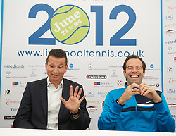 LIVERPOOL, ENGLAND - Thursday, June 21, 2012: Richard Krajicek (NED) and Greg Rusedski (GRB) during a press conference on the opening day of the Medicash Liverpool International Tennis Tournament at Calderstones Park. (Pic by David Rawcliffe/Propaganda)