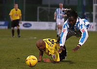 Fotball<br /> England 2004/2005<br /> Foto: SBI/Digitalsport<br /> NORWAY ONLY<br /> <br /> Coca Cola Championship<br /> 03/01/2005<br /> <br /> Brighton v Watford<br /> <br /> Watfords James Chambers brings down Mark McCammon of Brighton.