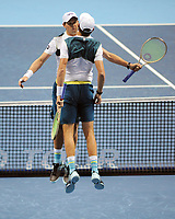 Tennis - 2017 Nitto ATP Finals  at The 02 - Day Two, Monday<br /> <br /> Jamie Murray and Bruno Soares v Bob Bryan and Mike Bryan (USA)<br /> <br /> Bob Bryan and Mike Bryan celebrate victory as they jump at each other<br /> <br /> COLORSPORT/ANDREW COWIE