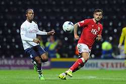 Marlon Pack of Bristol City plays a pass under from Daniel Johnson of Preston North End - Mandatory byline: Dougie Allward/JMP - 07966386802 - 15/09/2015 - FOOTBALL - Deepdale Stadium -Preston,England - Bristol City v Preston North End - Sky Bet Championship