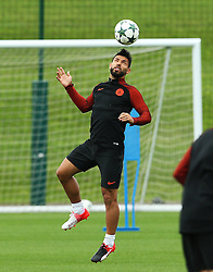 Sergio Aguero of Manchester City heads the ball during training - Mandatory by-line: Matt McNulty/JMP - 12/09/2016 - FOOTBALL - Manchester City - Training session ahead of Champions League Group C match against Borussia Monchengladbach