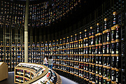 Latitude 20 global wine cellar more than 14,000 bottles, 800 wines from more than 70 countries across the globe.The City of Wine, Bordeaux, France.  Atelier 16- Architectures, Laurent Karst; 2016.