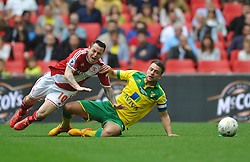 Norwich Skipper Russell Martin, takes out Lee Tomlin Middlesbrough, Middlesbrough v Norwich, Sky Bet Championship, Play Off Final, Wembley Stadium, Monday  25th May 2015