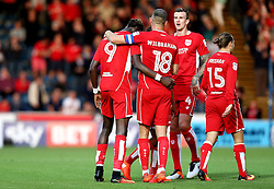 Tammy Abraham of Bristol City celebrates with teammates after scoring a goal against Wycombe Wanderers in the EFL League Cup - Mandatory by-line: Robbie Stephenson/JMP - 09/08/2016 - FOOTBALL - Adams Park - High Wycombe, England - Wycombe Wanderers v Bristol City - EFL League Cup
