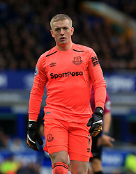 """Everton goalkeeper Jordan Pickford during the Premier League match at the Goodison Park, Liverpool. PRESS ASSOCIATION Photo. Picture date: Sunday October 22, 2017. See PA story SOCCER Everton. Photo credit should read: Peter Byrne/PA Wire. RESTRICTIONS: EDITORIAL USE ONLY No use with unauthorised audio, video, data, fixture lists, club/league logos or """"live"""" services. Online in-match use limited to 75 images, no video emulation. No use in betting, games or single club/league/player publications."""