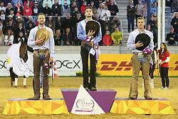 16.08.2015, Aachener Soers, Aachen, GER, FEI Europameisterschaften Aachen 2015, im Bild Siegerehrung, Europameister 1. Platz Giovanni Mais de Vages (ITA), Vizeeuropameister 2. Platz Grischa Ludwig (GER), 3.Platz Elias Ernst (GER) // during the FEI European Championships Aachen 2015 at the Aachener Soers in Aachen, Germany on 2015/08/16. EXPA Pictures © 2015, PhotoCredit: EXPA/ Eibner-Pressefoto/ Roskaritz<br /> <br /> *****ATTENTION - OUT of GER*****