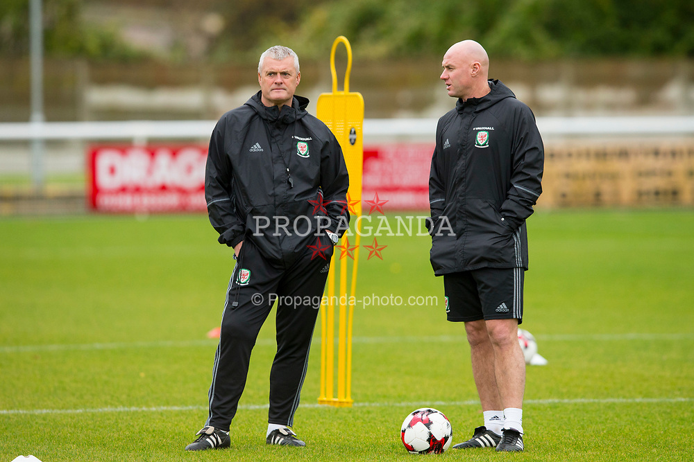 BANGOR, WALES - Tuesday, November 7, 2017: Wales'  intermediate teams manager Robert Page with coach Frankie Bunn during a training session at VSM Bangor City Stadium ahead of the UEFA Under-21 European Championship Qualifying Group 8 match against Bosnia and Herzegovina. (Pic by Paul Greenwood/Propaganda)