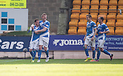 St Johnstone&rsquo;s Danny Swanson is congratulated by Brian Easton after scoring - St Johnstone v Dundee, Ladbrokes Scottish Premiership at McDiarmid Park, Perth. Photo: David Young<br /> <br />  - &copy; David Young - www.davidyoungphoto.co.uk - email: davidyoungphoto@gmail.com