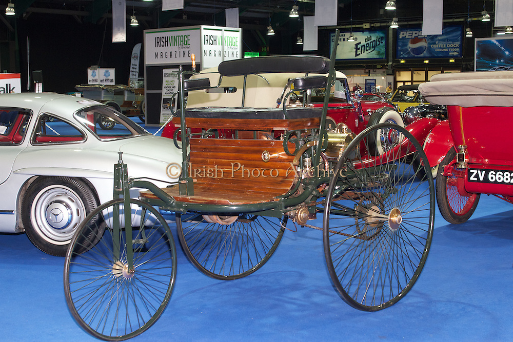 RIAC Classic Car Show 2013, RDS,1886 Benz Patent Motor Car. The Benz Patent Motor Car, the worlds's first automobile, was the invention of Carl Benz (Germany). Carl got the patent in 1886. Irish, Photo, Archive.