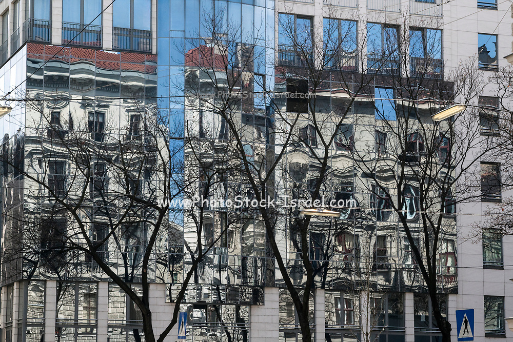 Abstract reflection in high-rise windows Photographed in Vienna, Austria.