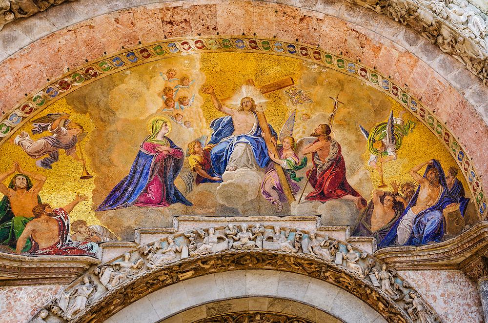 Mosaics above the entrance to Basilica San Marco (Saint Mark's Cathedral), Venice, Veneto, Italy