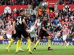 Mame Biram Diouf of Stoke City fires a header at goal  - Mandatory by-line: Matt McNulty/JMP - 20/08/2016 - FOOTBALL - Bet365 Stadium - Stoke-on-Trent, England - Stoke City v Manchester City - Premier League