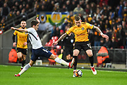 Newport County Defender Scot Bennett (17) and Tottenham Hotspur Midfielder Harry Winks (29) battle for the ball during the The FA Cup 4th round replay match between Tottenham Hotspur and Newport County at Wembley Stadium, London, England on 7 February 2018. Picture by Stephen Wright.
