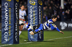 Horacio Agulla of Bath Rugby scores his team's bonus point winning try late in the match - Photo mandatory by-line: Patrick Khachfe/JMP - Mobile: 07966 386802 12/12/2014 - SPORT - RUGBY UNION - Bath - The Recreation Ground - Bath Rugby v Montpellier - European Rugby Champions Cup