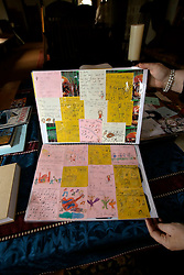 UK ENGLAND THAME 27AUG14 - Detail view of a collage book made by pupils at the school where deceased Bee Gees singer Robin Gibb used to study, on display at his home in Thame, Oxfordshire.<br /> <br /> jre/Photo by Jiri Rezac<br /> <br /> © Jiri Rezac 2014