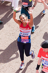 © Licensed to London News Pictures. 22/04/2018. London, UK. ROCHELLE HUMES celebrates at the finish of 2018 London Marathon. Photo credit: Vickie Flores/LNP