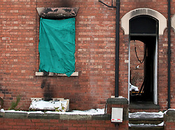 (c) London News Pictures. 04-12-2010. The scene of a house fire in Newark-On-Trent today (Saturday). Officers were called to the house at approximately 3:30pm yesterday evening, and the body of a lady who is yet to be identified by police was found at the scene. Picture credit should read: Tim Goode/London News Pictures