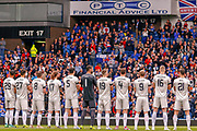 Aberdeen players and fans pay their respects with a minutes applause for Billy McNeill who passed away earlier this week ahead of the Ladbrokes Scottish Premiership match between Rangers and Aberdeen at Ibrox, Glasgow, Scotland on 27 April 2019.