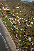 Aerial view of Turtle Point Golf Club and homes in Kiawah Island, SC.