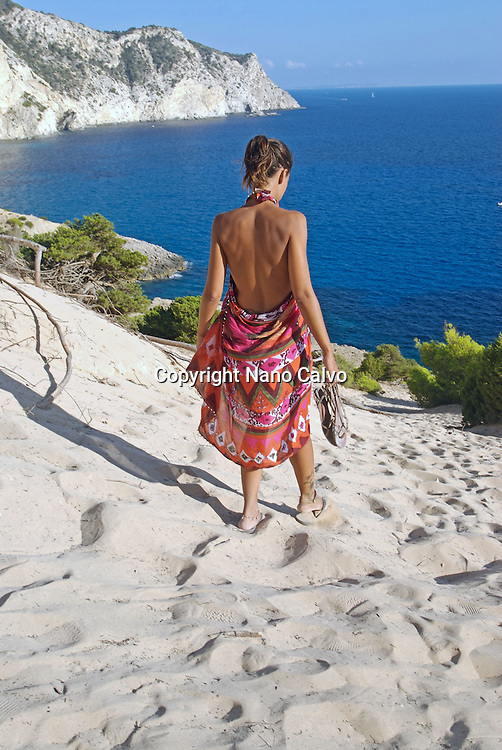 Young attractive woman in Atlantis, Sa Pedrera, Ibiza