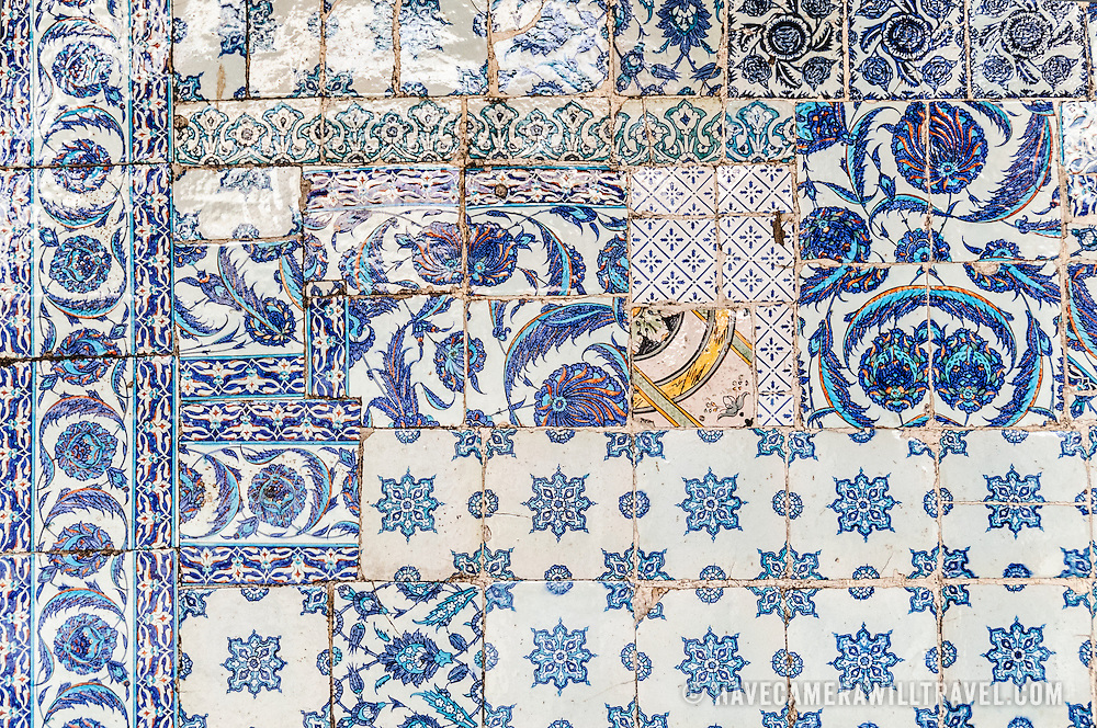 Mixed, old tiles on the exterior of Istanbul's Rustem Pasha Mosque near the Spice (Egyption) Market.