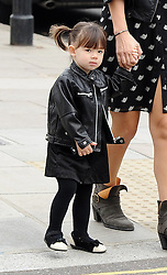 Myleene Klass wearing a black leather jacket, teapot print dress and ankle boots out with her daughters Ava and Hero in north London, UK. 18/06/2013<br />BYLINE MUST READ : GOTCHAIMAGES.COM<br /><br />Copyright by © Gotcha Images Ltd. All rights reserved.<br />Usage of this image is conditional upon the acceptance <br />of Gotcha Images Ltd, terms and conditions available at<br />www.gotchaimages.com