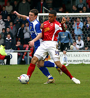 Photo: Dave Linney.<br />Crewe Alexander v Cardiff City. Coca Cola Championship. 17/04/2006.Cardiff's Jason Koumas(L) is about to be sent flying by   Jon Otsemobor