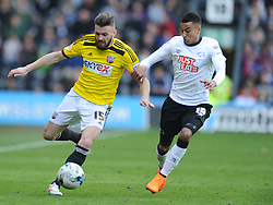 Stuart Dallas Brentford, Jessie Lingard Derby,  Derby County, Derby County v Brentford, Sky Bet Championship, IPro Stadium, Saturday 11th April 2015. Score 1-1,  (Bent 92) (Pritchard 28)<br /> Att 30,050