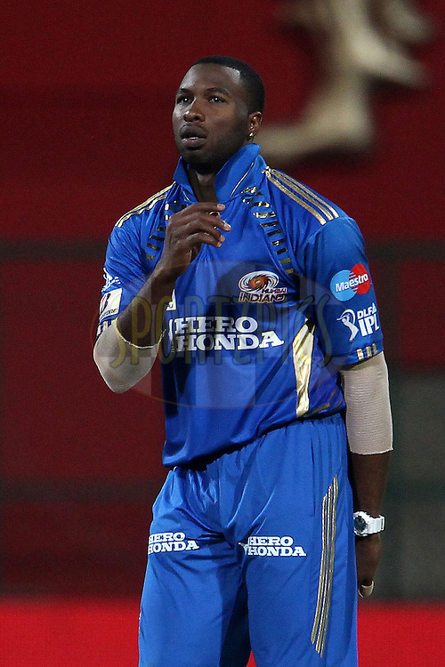 Keironm Pollard during match 8 of the the Indian Premier League ( IPL ) Season 4 between the Royal Challengers Bangalore and the Mumbai Indians held at the Chinnaswamy Stadium, Bangalore, Karnataka, India on the 12th April 2011..Photo by Ron Gaunt/BCCI/SPORTZPICS